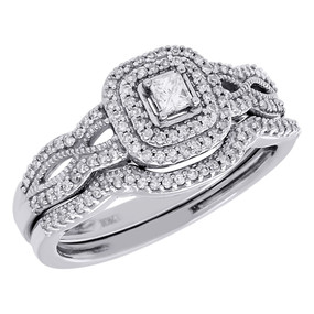 10K White Gold Solitaire Diamond Halo Infinity Wedding Ring Bridal Set 3/8 Ct