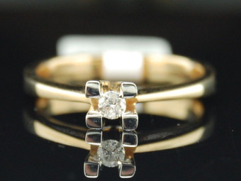 Diamond Solitaire Engagement Ring 14K Yellow Gold Round Wedding Promise 1/10 Tcw