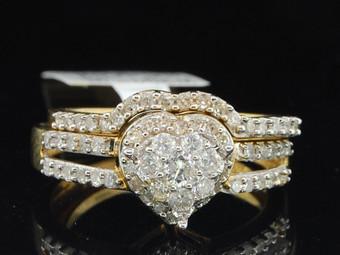 Ladies 10K Yellow Gold Diamond Engagement Ring Heart Wedding Band Bridal Set