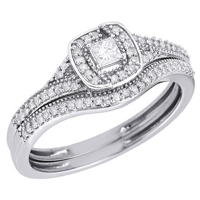10K White Gold Princess Cut Solitaire Bridal Set Diamond Wedding Ring 0.32 Ct.