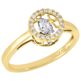 10K Yellow Gold Dancing Diamond Shimmering Halo Wedding Promise Ring 0.18 Ct.