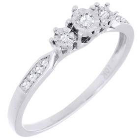 3 Stone Diamond Promise Engagement Wedding Ring Ladies 10K White Gold 0.10 Ct.