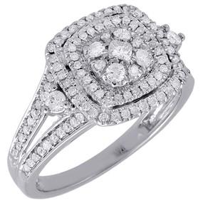 Diamond Square Engagement Ladies 14k White Gold Round Pave Wedding Ring .63 Ct.