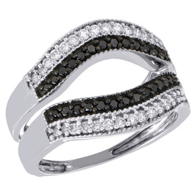 10K White Gold Black Diamond Enhancer Ring Wrap Contour Wedding Band 0.50 Ct.