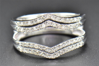 Diamond Enhancer Wrap Solitaire Engagement Ring 14K White Gold 2 Row 0.36 Ct