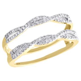 10K White Gold Diamond Solitaire Engagement Ring Enhancer Wrap Swivel 0.36 Ctw