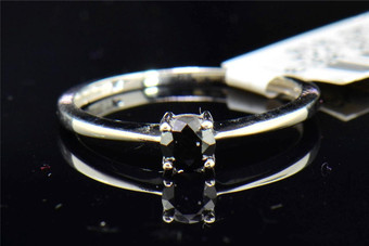 Black Diamond Solitaire Engagement Ring Round Cut Prong Set 10K White Gold.