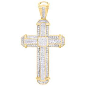 "10K Yellow Gold Real Diamond Cross Tier Frame Fancy Pendant 2"" Pave Charm 1/2 CT"