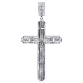 "10K White Gold Genuine Round Diamond Cross Pendant 2.90"" Mens Pave Charm 1 CT."