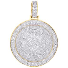 "10K Yellow Gold Diamond Dome Puff Circle Medallion Pendant 1.90"" Charm 2.88 CT."