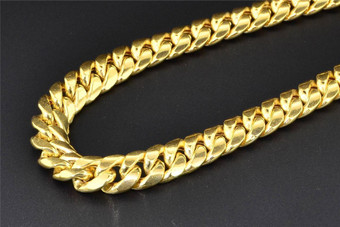 """10K Yellow Gold Miami Cuban Semi Hollow 11mm Wide Chain 36"""" Necklace"""