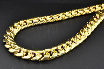 """10K Yellow Gold Miami Cuban Semi Hollow 12.50mm Wide Chain 34"""" Necklace"""