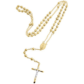 """10K Yellow Gold Virgin Mary Rosary Diamond Cut Beads 5mm Necklace Chain 26""""+4"""""""