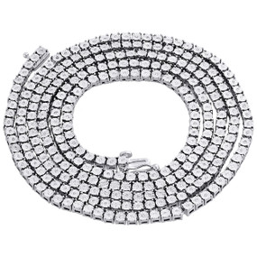 1 Row Necklace Genuine Diamond Link Chain Mens 925 Sterling Silver 36"