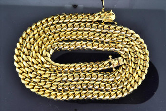 10K Solid Heavy 8.62MM Yellow Gold Miami Cuban Link Chain Necklace 36 Inch 189g