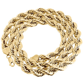 Real 10K Yellow Gold Solid Rope Chain 8mm Shiny Twist Necklace 22-30 Inches