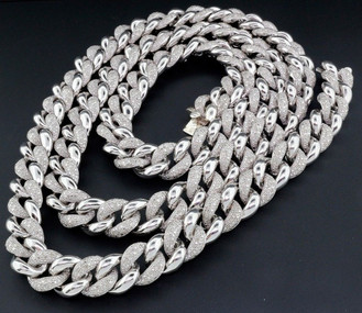 Diamond Miami Cuban Chain Mens .925 Sterling Silver 11mm Necklace Link 8 CT.