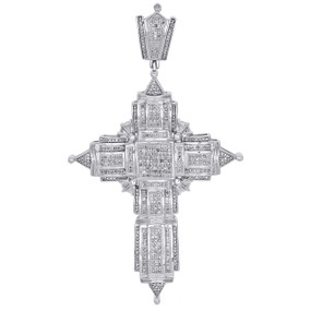 "10K White Gold Genuine Round Diamond Cross Pendant 3.5"" Mens Pave Charm 1.77 CT."