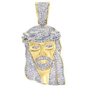 ".925 Sterling Silver Diamond Jesus Face Piece Pendant 1.60"" Mens Pave Charm 1 Ct"