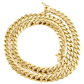 """10K Yellow Gold 8.75mm Solid Miami Cuban Link Chain Box Clasp Necklace 22""""- 30"""""""