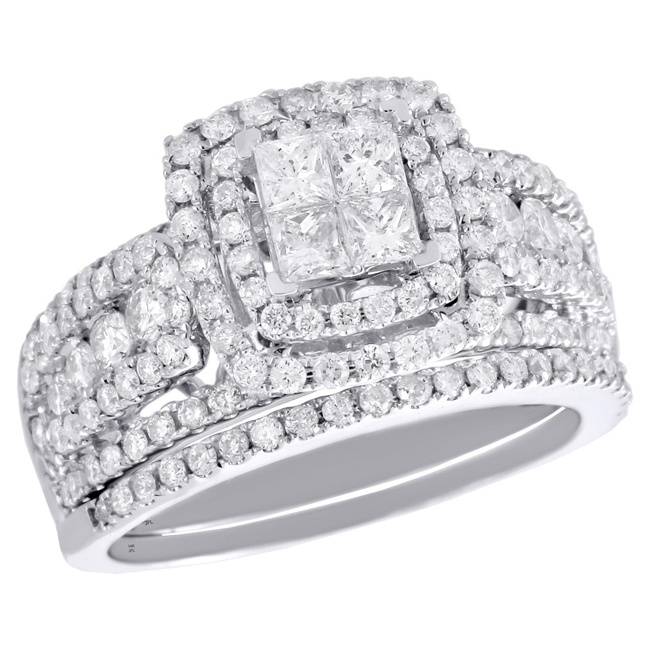 f2710a62fbf63 14K White Gold Princess Diamond Bridal Set Engagement + Wedding Rings 1.75  CT.