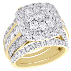 14K Yellow Gold Diamond Bridal Set Flower Engagement Ring + 2 Wedding Bands 4 CT