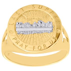 10K Yellow Gold Last Supper Pray For Us Cross Statement Pinky Ring Band 17mm