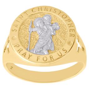 10K Yellow Gold Patron Saint Christopher Travelers Pray For Us Cross Ring 17mm