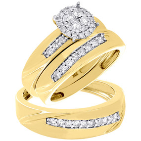 10K Yellow Gold Diamond Trio Set Ladies Engagement Ring Mens Wedding Band 3/4 Ct