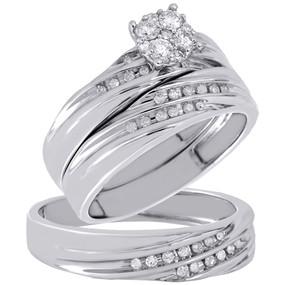 10K White Gold Diamond Trio Set Ladies Wedding Ring Set Mens Wedding Band 0.38 C