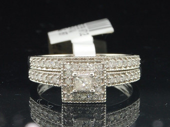 10K White Gold Princess Cut Diamond Solitaire Engagement Wedding Band Bridal Set