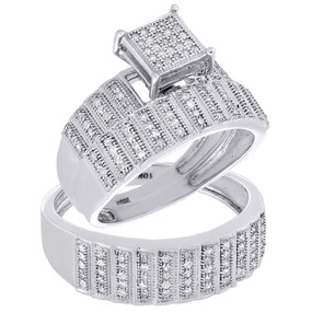 10K White Gold Diamond Trio Set Matching Engagement Ring Wedding Band 0.50 Ct.