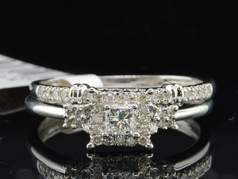 Princess Cut Diamond Solitaire Engagement Ring White Gold Wedding Bridal Set