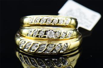 Diamond Matching Wedding Trio Set 10K Yellow Gold Round Engagement Ring 1/4 Tcw.
