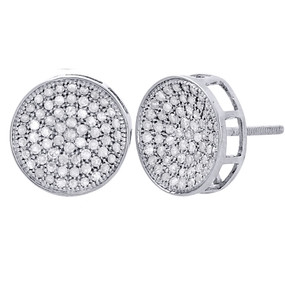 10K White Gold Round Diamond Circle Pave Studs Concave 12mm Mens Earrings 1 Ct.