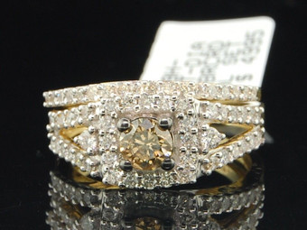 Ladies 14K Yellow Gold Brown Champagne Diamond Engagement Ring Bridal Set 1.11Ct