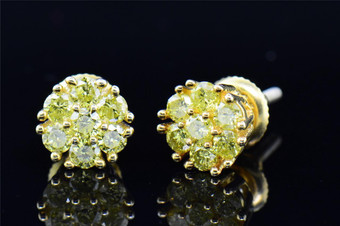 Mens & Ladies .925 Sterling Silver Round Yellow Diamond Earrings Studs 1 Ct.