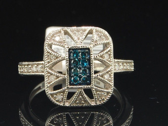 10k White Gold Blue Diamond Round Cut Star Design Fashion Cocktail Ring 1/4 Ct.
