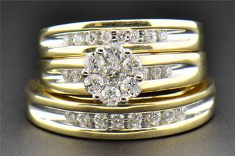 Diamond Flower Trio Set Engagement Ring Wedding Band 14K Yellow Gold 0.79 Ct