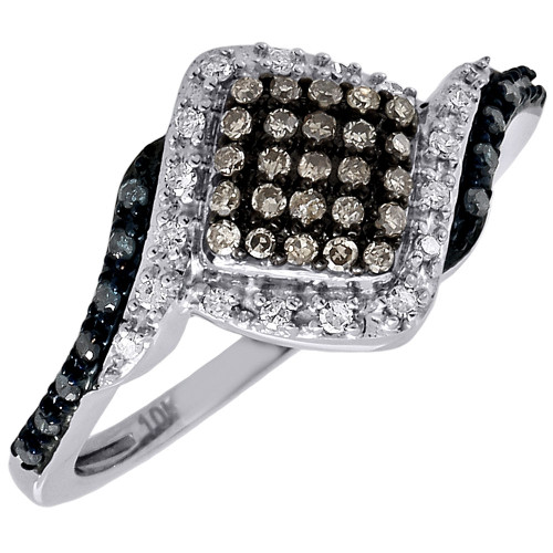 5d0eadaf9ba9b Blue & Brown Diamond Fashion Ring Ladies White Gold Round Cocktail Band  0.33 Ct.