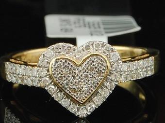 10K LADIES WOMENS YELLOW GOLD HEART DIAMOND ENGAGEMENT RING WEDDING BRIDAL SET