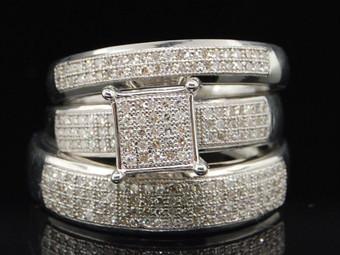 Mens Ladies .925 Sterling Silver Diamond Trio Set Engagement Ring Wedding Band