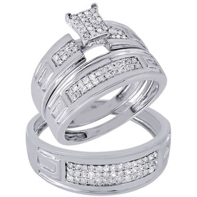 10K White Gold Diamond Trio Set Matching Engagement Ring & Wedding Band 1/2 Ct.