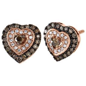 10K Rose Gold Brown & White Round Diamond Heart Stud Halo Earrings 10.5mm 5/8 CT