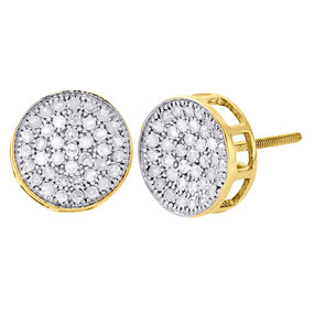 10K Yellow Gold Diamond Circle Pave Studs Concave 10mm Mens Earrings 0.75 Ct.