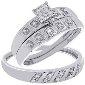 10K White Gold Diamond Trio Set Matching Engagement Ring Wedding Band 0.08 Tcw