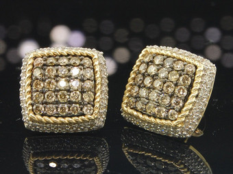 Ladies 10K Yellow Gold Square Brown Champagne Diamond Studs Earrings 1.29 Ct.