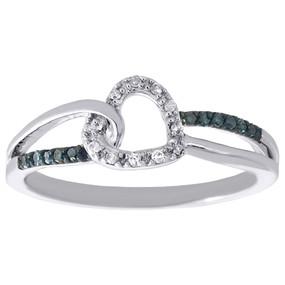 10K White Gold Genuine Blue Diamond Heart Shape Split Shank Promise Ring 1/10 CT