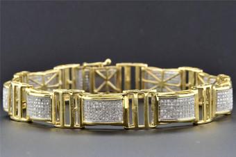 "10K Yellow Gold Mens Genuine Diamond Link Bracelet Round Pave Set 8.50"" 2.03 Ct."