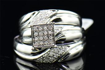 Diamond Matching Trio Set 10K White Gold Square Engagement Ring Wedding Band